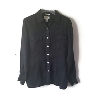Talbots shirt linen black button down sz 10